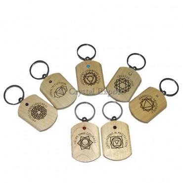 Engraved Seven Chakra Symbols Keyring Set 7 Chakra Keyring