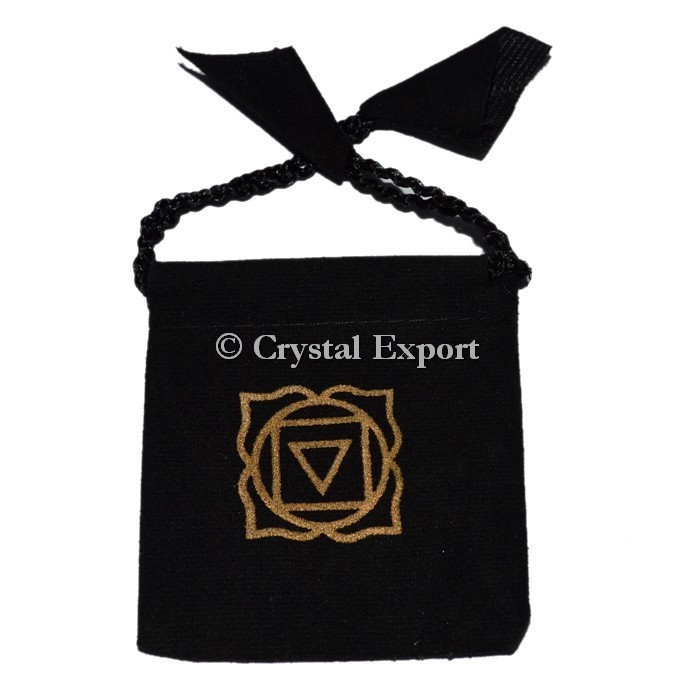 Root Chakra Symbol On Black Pouch Jewellery Pouch For Sale
